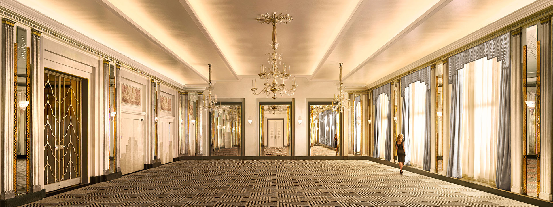 Claridge's ballroom CGI for 2020 renovation with chandelier and steeped ceiling detail