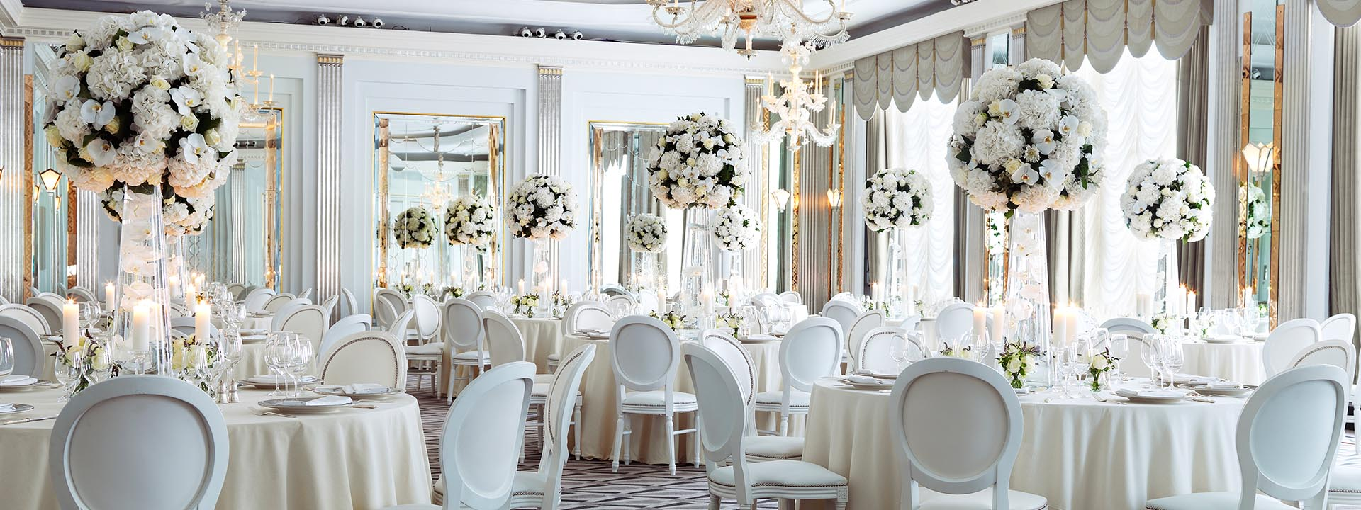 The Claridge's ballroom prepared for a wedding