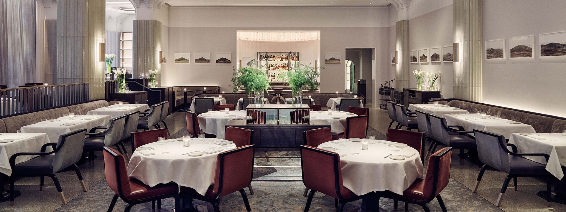 Interior of fine dining restaurant Davies and Brook at Claridge's in Mayfair