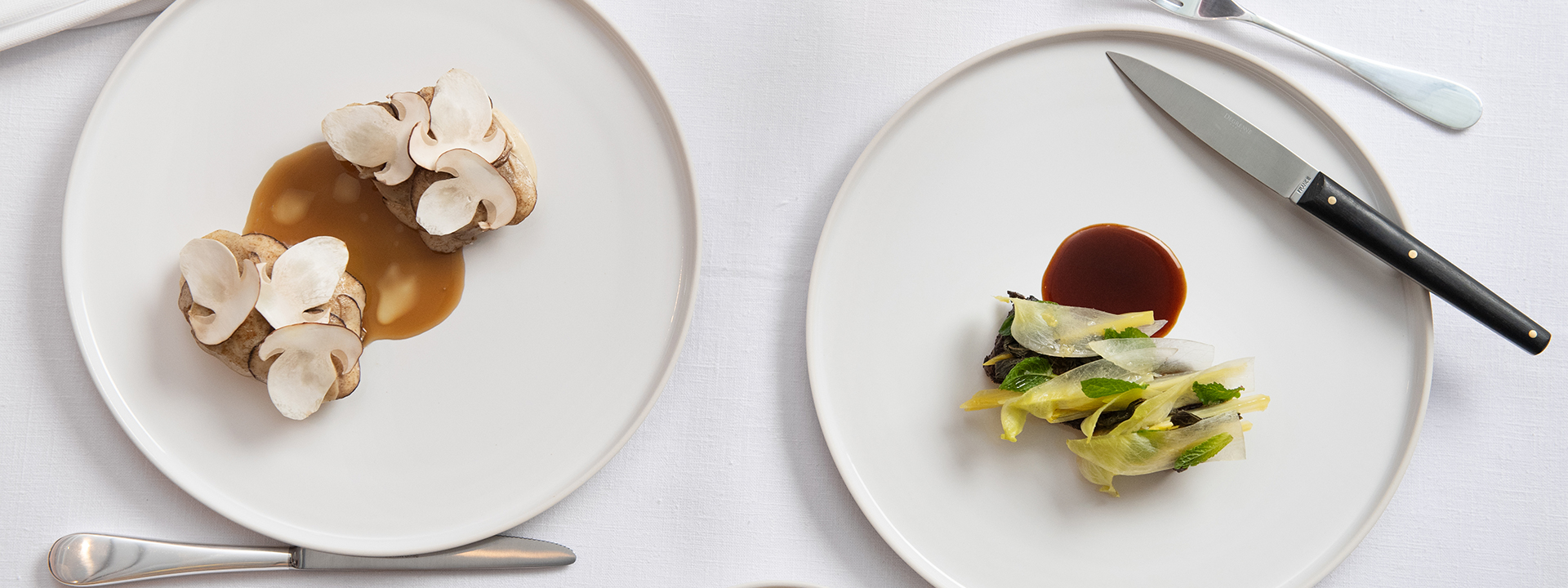 Two seasonal dishes from Davies and Brook restaurant in Mayfair at Claridge's