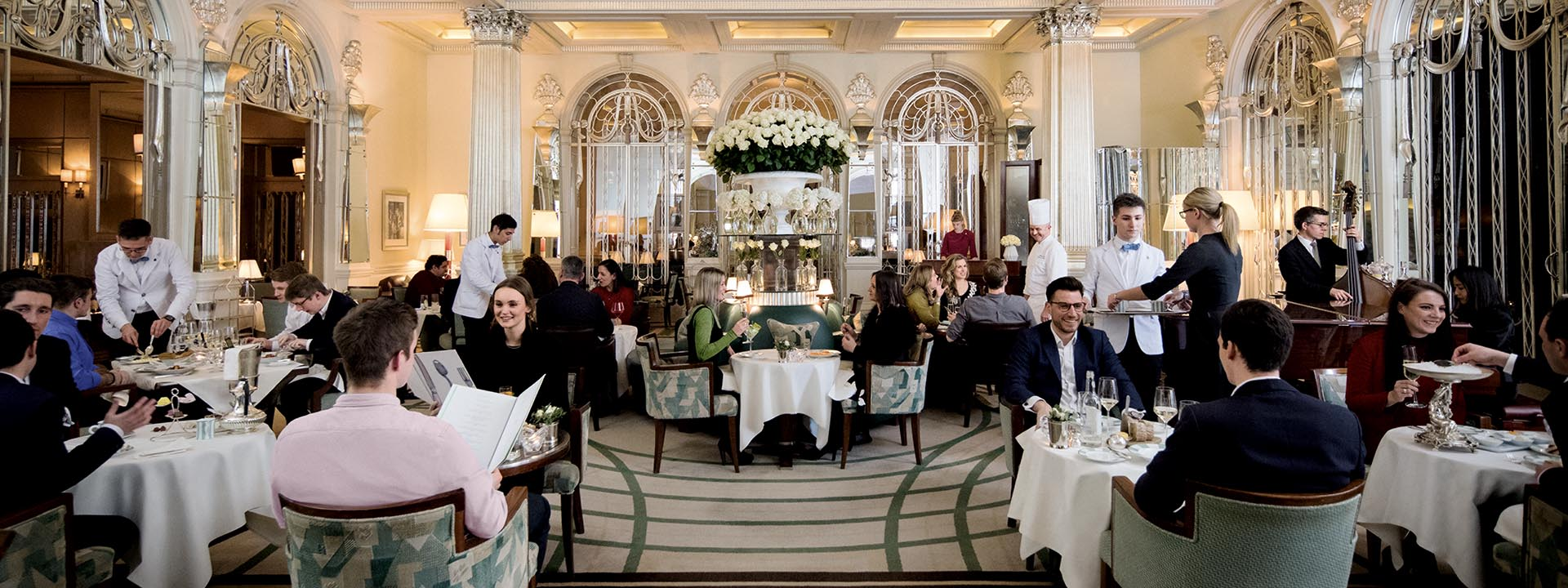 The Foyer & Reading Room restaurant in Claridge's in Mayfair full of guests at Claridge's