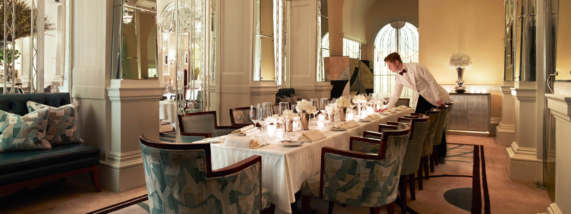 Private dining in The Foyer & Reading Room restaurant at Claridge's in Mayfair