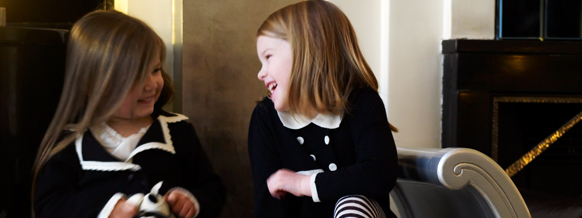 Two children laughing at Claridge's